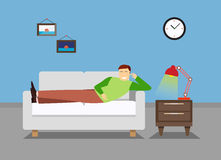Man is resting in the bedroom on the couch or sofa. Lounge room. Man reading book illustration. Bedroom vector illustration Royalty Free Stock Photography