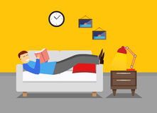 Man is resting in the bedroom on the couch or sofa. Lounge room. Man reading book illustration. Bedroom vector illustration Royalty Free Stock Photo