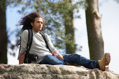 Man Resting During Countryside Hike Royalty Free Stock Photos