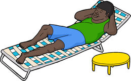 Man Resting on Deck Chair Royalty Free Stock Photo