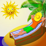 A man resting on a deckchair on a sunny day Stock Image