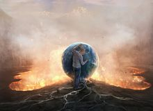 Earth and fire. A man resting on the Earth over a pool of fire and lava Stock Image