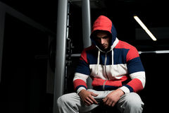 Man Resting After Exercises In Gym Stock Photos