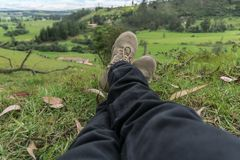 Man resting on the grass of a farm royalty free stock photos