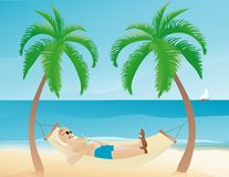 Man resting on a hammock Royalty Free Stock Photography