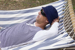 Man resting in hammock Royalty Free Stock Photo