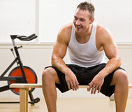 Man resting in health club Royalty Free Stock Images