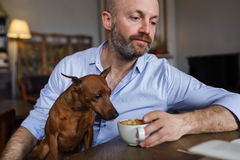 The man is resting with his dog. Royalty Free Stock Photo