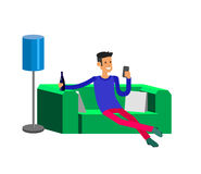 Man resting at home. Laying on sofa Royalty Free Stock Photos