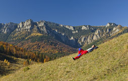 Man resting in mountain landscape Royalty Free Stock Photo