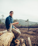 Man resting outdoor Stock Photo