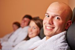 Man resting in relaxation room Royalty Free Stock Images