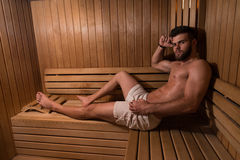 Man Resting Relaxed In The Hot Sauna Stock Photography