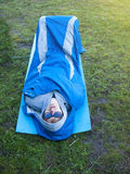The man is resting in a sleeping bag. Royalty Free Stock Photos