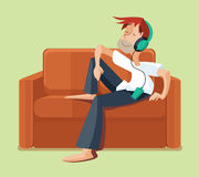Man resting on sofa couch indoor and listening music. Vector illustration Royalty Free Stock Photos