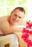 Man resting in spa salon Stock Photos