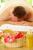 Man resting in spa salon Stock Photo