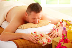 Man resting in spa salon Royalty Free Stock Photography