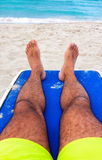Man resting on a tropical cuban beach Royalty Free Stock Photo
