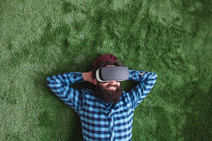 Man resting with VR headset royalty free stock photos