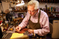 Man Restoring Violin In Workshop Stock Image