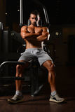 Man Rests In Gym After Having A Workout Stock Image