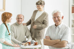 Man at retirement club. Happy elderly men having fun at retirement club Royalty Free Stock Photos