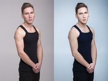 Man before and after retouch Royalty Free Stock Images