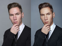Man before and after retouch Stock Photography