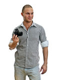 Man with retro camera Stock Photography