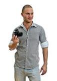 Man with retro camera Stock Photography