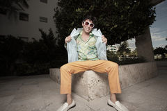 Man in retro clothing Stock Photo