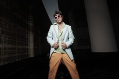 Man in retro clothing at night Stock Photography