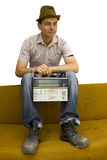 Man with retro radio Stock Photo