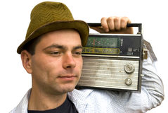 Man with retro radio Stock Image