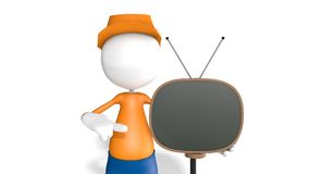 Man with a Retro TV. 3D Guy with 3D Retro TV With Background Stock Photography