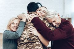 A Man Returns From The Military. Family Meeting. royalty free stock image