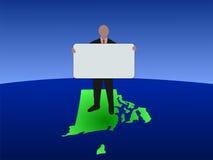 Man Rhode Island map sign vector illustration