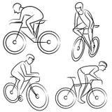 Man ridding bicycle set Royalty Free Stock Images