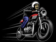 Man ride a custom vintage motorcycle. Vector of man ride a custom vintage motorcycle Royalty Free Stock Photography