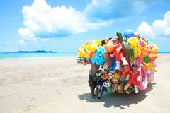 Toys shop on the beach in Eastern Thailand. Royalty Free Stock Photos