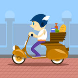 Man Ride Motorcycle Scooter Delivery Service Retro Royalty Free Stock Photography