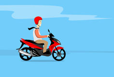 Man Ride Motorcycle Wearing Helmet Copy Space Stock Image