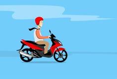 Man Ride Motorcycle Wearing Helmet Copy Space Stock Image