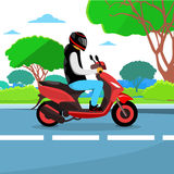 Man Ride Motorcycle Wearing Hemlet Royalty Free Stock Photography