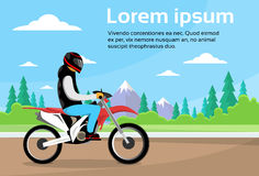 Man Ride Off Road Motor Bike, Sport Motocycle Over Nature Mountain Background Stock Photos