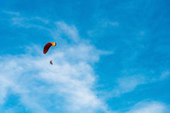 Man ride Paramotor flying in the sky Stock Image