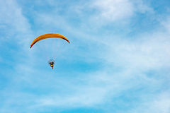 Man ride Paramotor flying in the sky Royalty Free Stock Photography