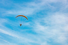 Man ride Paramotor flying in the sky Royalty Free Stock Images