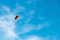 Man ride Paramotor flying in the sky Stock Photos